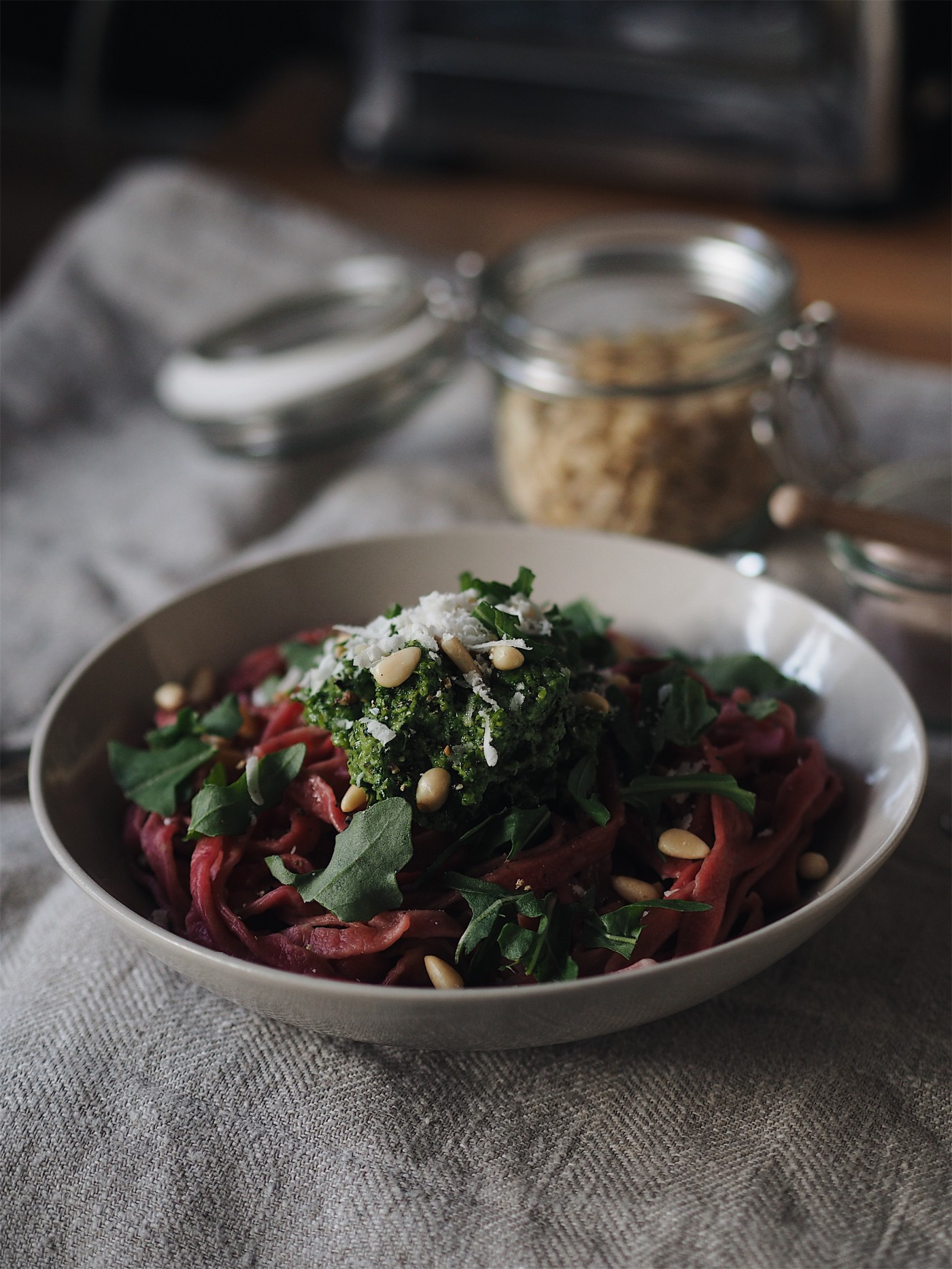 evafedeveka photography food homemade beets pasta with rocket pesto